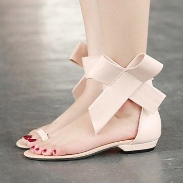 Toe Ring Flat Heel Bowtie Women's Sandals