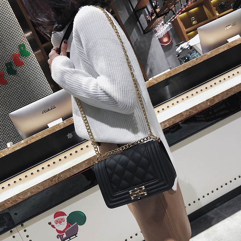 Modern Style Chain Lock Cross Body Bag
