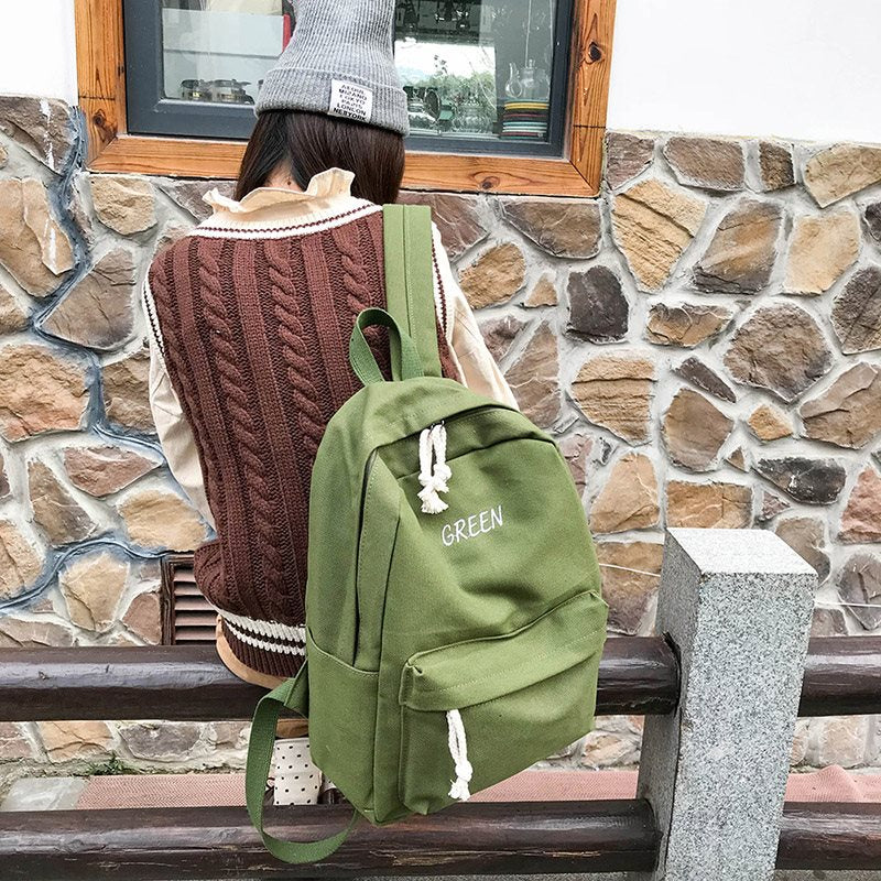 Well Match Solid Color Canvas Women Backpack