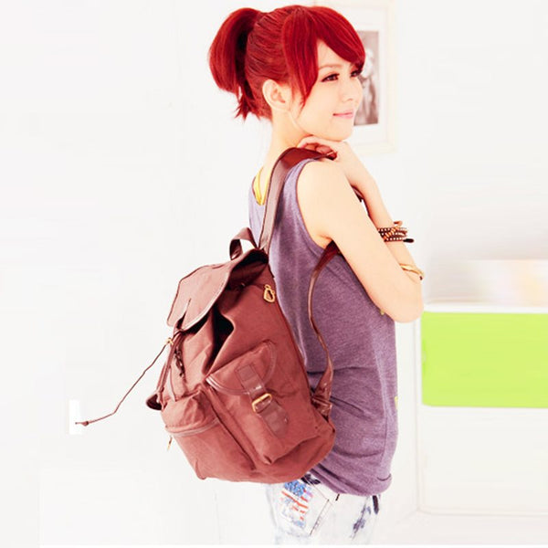 Concise Belt-Decorated Canvas Backpack