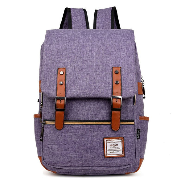 Preppy Chic Belt-Decorated Patchwork Backpack
