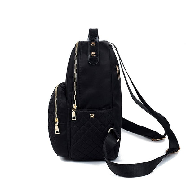 Solid Color Nylon Women Zipper Backpack