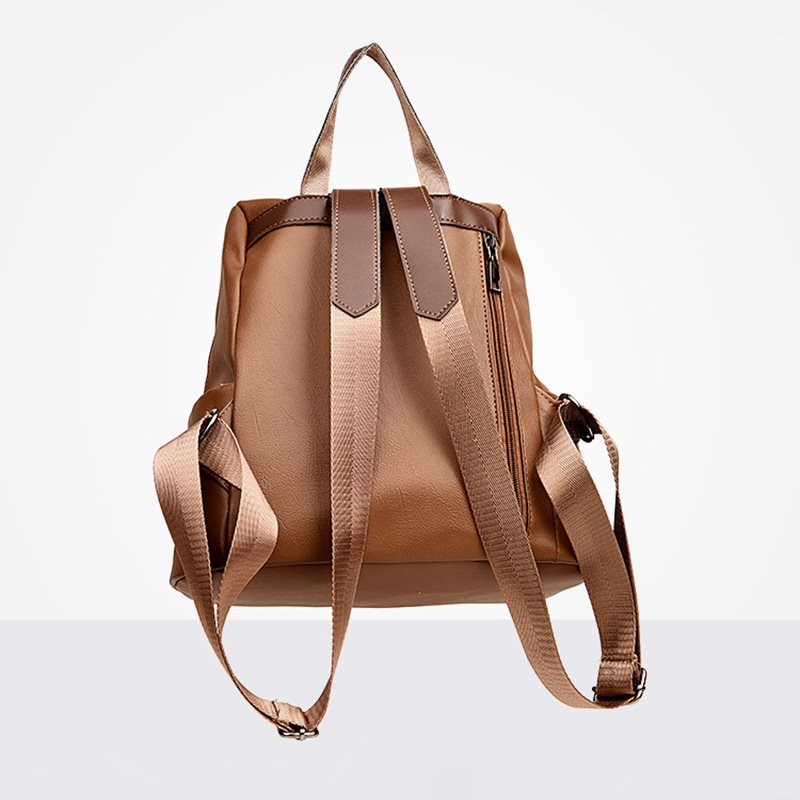 Simple Solid Color Soft PU Women Backpack
