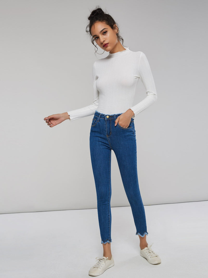 Zipper Button Pocket Skinny Women's Jeans