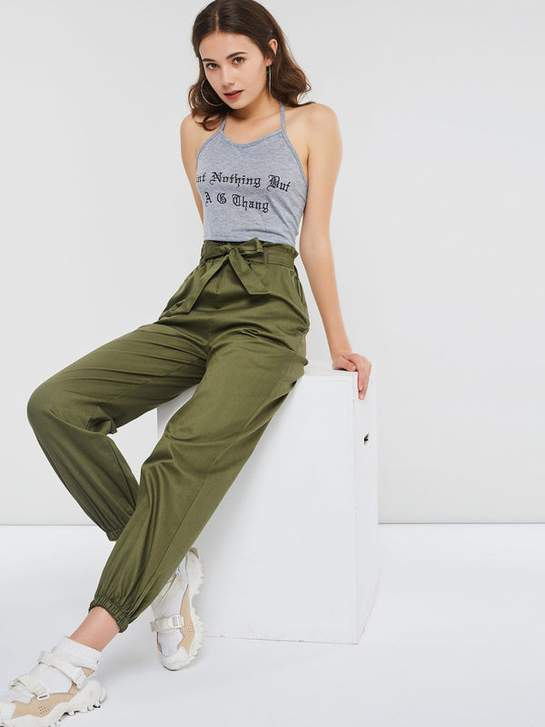 Loose Plain Pocket Full Length Women's Casual Pants