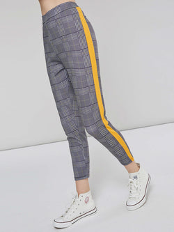 Color Block Plaid Women's Casual Pants