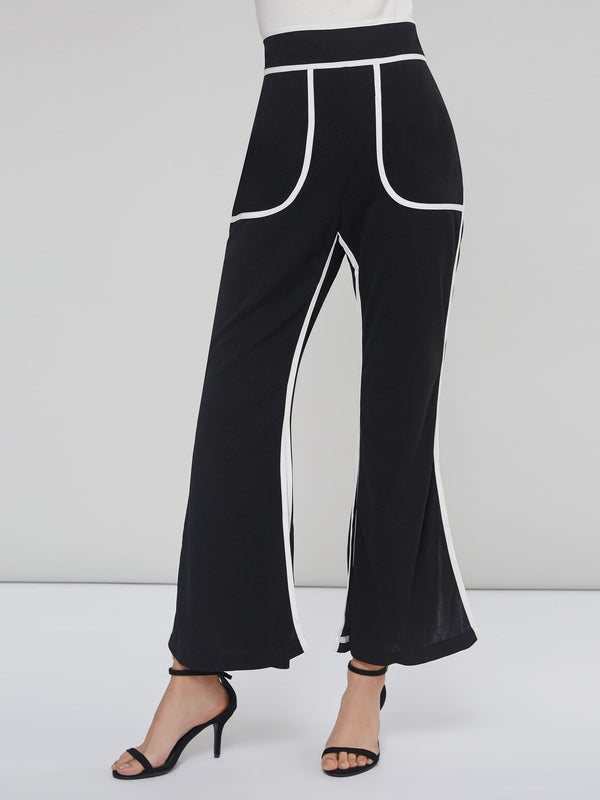 Color Block Split Pocket Women's Wide Legs Pants