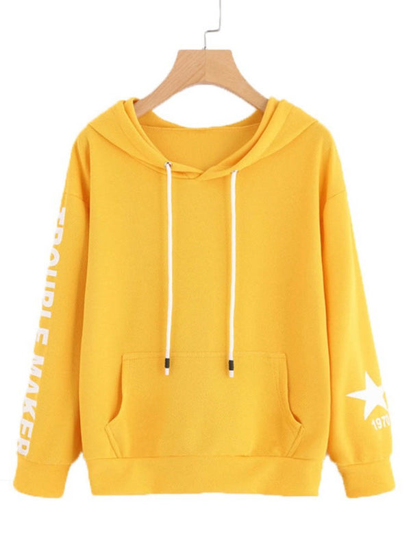 Plain Letter Print Pocket Women's Hoodie