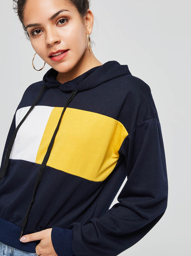 Color Block Long Sleeve Women's Hoodie