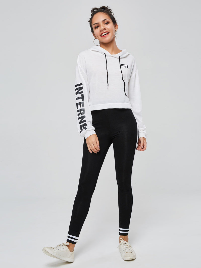 Letter Print Long Sleeve Women's Cropped Hoodie