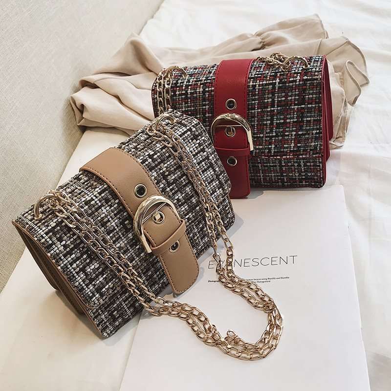 Women's Stereoscopic Color Block Belt Buckle Crossbody Bag