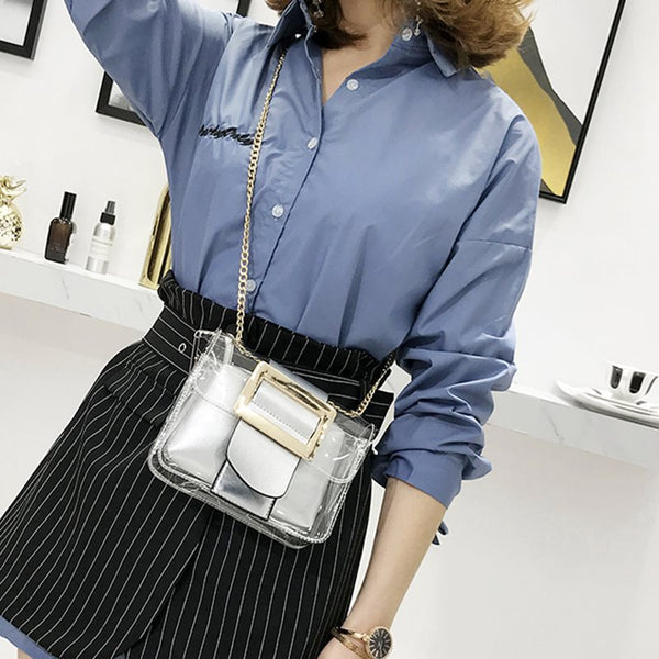 PVC Belt Decorated Solid Color Women Crossbody Bag
