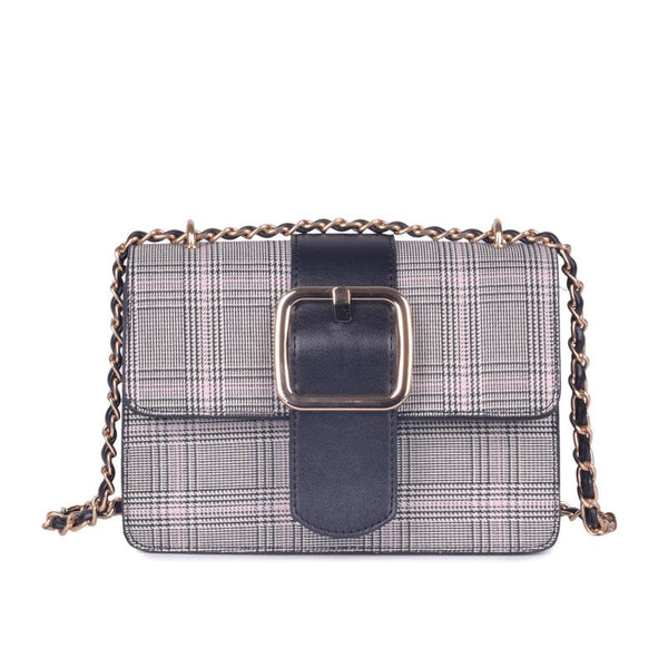 Fashion Plaid Belt Decorated Medium Crossbody Bag