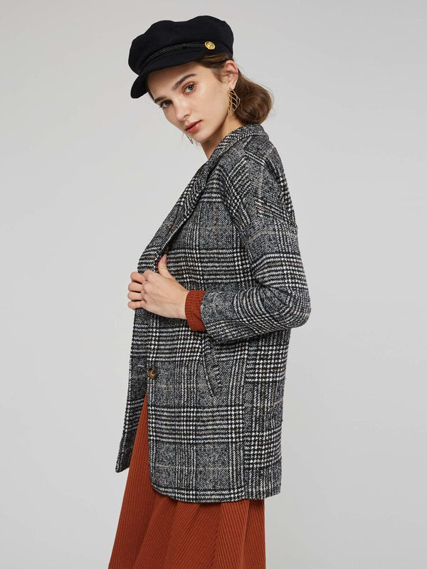 One Button Plaid Notched Lapel Women's Overcoat