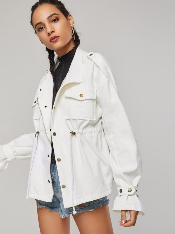 Loose Mid-Length Button Up Women's Trench Coat