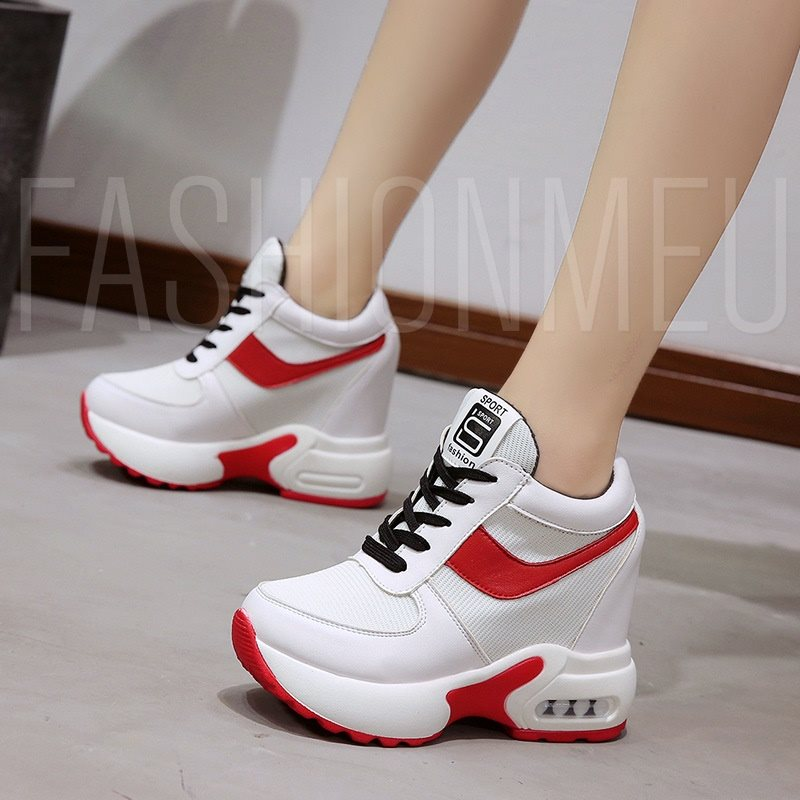 Round Toe Platform Lace-Up Color Block Casual Women's Sneaker
