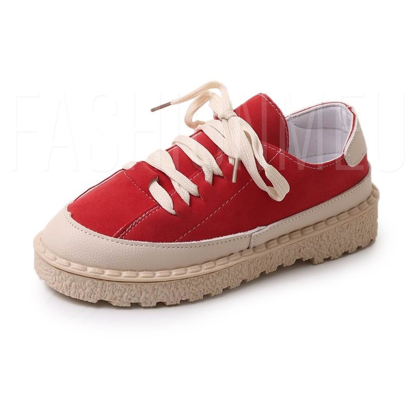 Block Heel Round Toe Lace-Up Patchwork Women's Flat Sneaker
