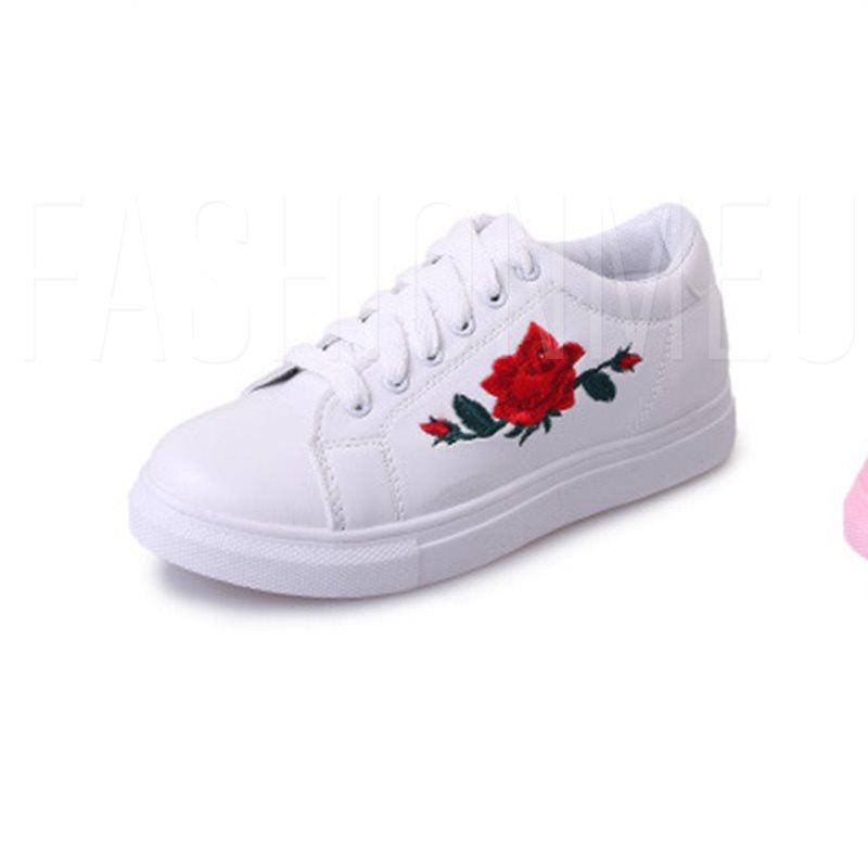Lace-Up Floral Embroidery Platform Girlish Women's Sneake