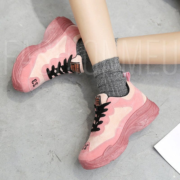 Suede Lace-Up Platform Round Toe Casual Women's Sneaker