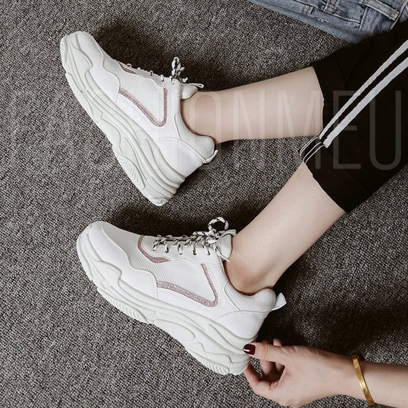 Platform Lace-Up Round Toe Patchwork Plain White Sneakers