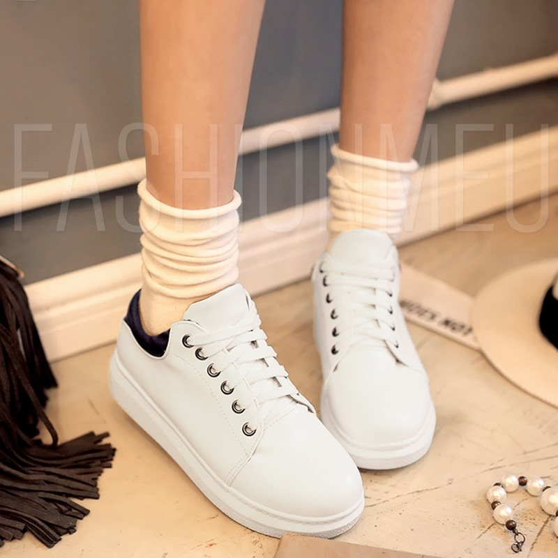 Three Color Thick Women's White Platform Sneakers