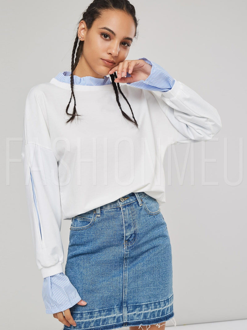 Stripe Flare Sleeve Double-Layer Women's Sweatshirt