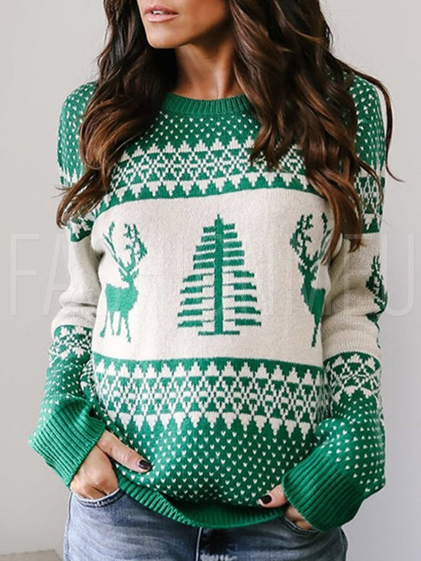Womens Christmas Tree Loose Long Sleeve Casual Knitting Sweater