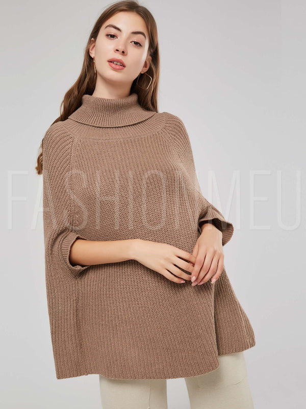 High Neck Solid Color Pullover Women's Knitted Cape