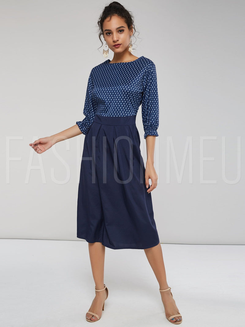 Elegant A-Line Patchwork Knee-Length Dress