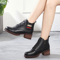 Fashion Lace-up Low Heel PU Ankle Boots