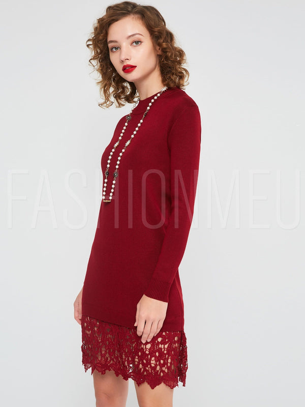 Long Sleeve Lace Patchwork Women's Sweater Dress