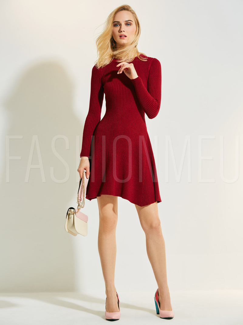 Round Neck Plain Women's Sweater Dress