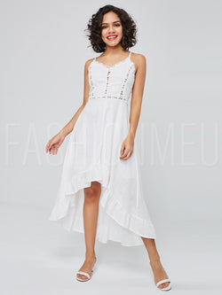 Irregulaur Swing Hollow Spaghetti Maxi Dress