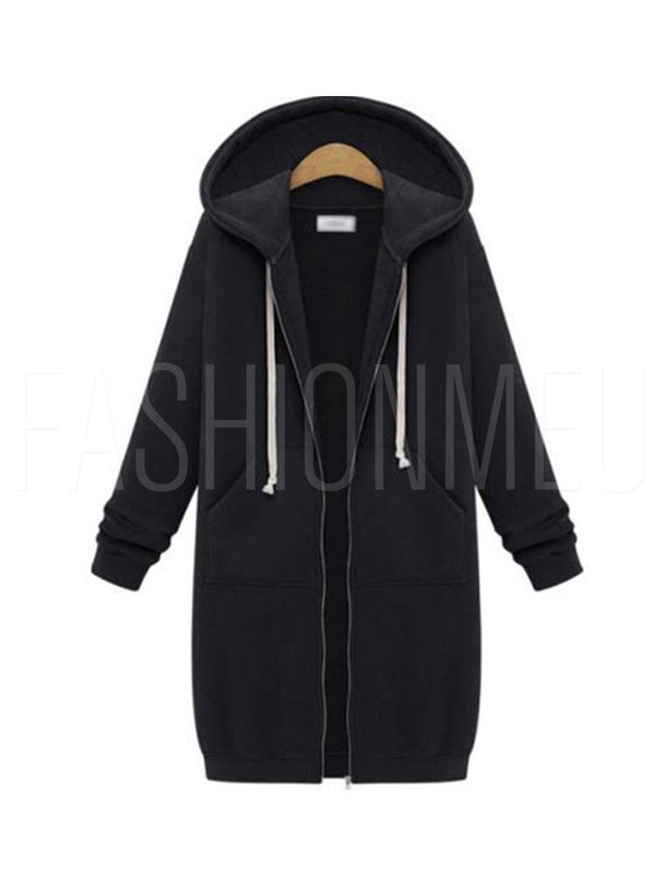 Zipper Up Dual Pocket Mid Length Women's Hoodie