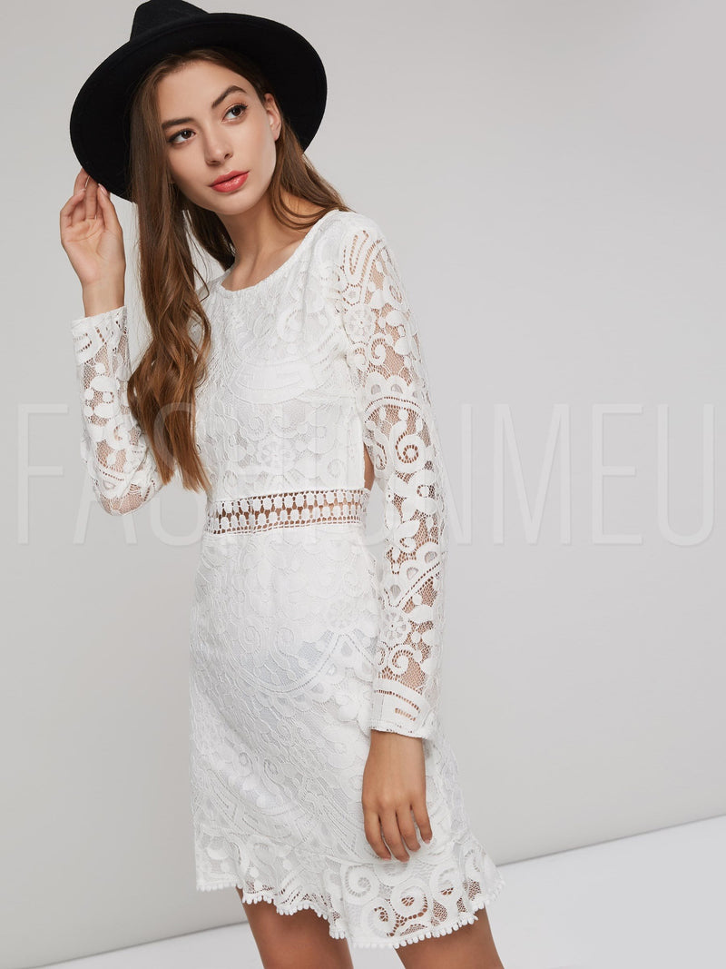 Hollow Backless Sexy Women's Lace Dress