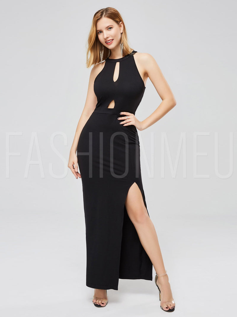 Sexy Black Women Bodycon Dresses Ankle Length Dress