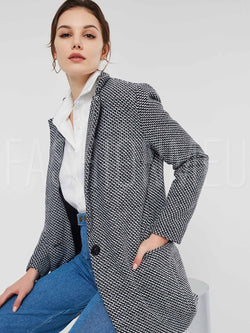 Notched Lapel One Button Women's Overcoat
