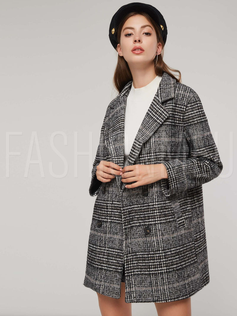 Notched Lapel Double-Breasted Plaid Women's Overcoat