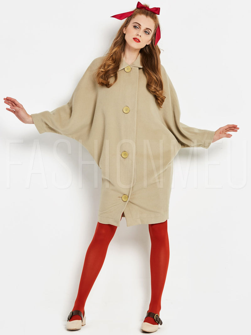 Batwing Sleeve Single Breasted Women's Overcoat