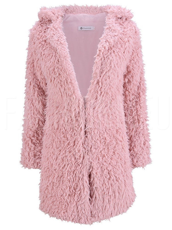 Faux Fur Solid Color V-Neck Teddy Bear Overcoat