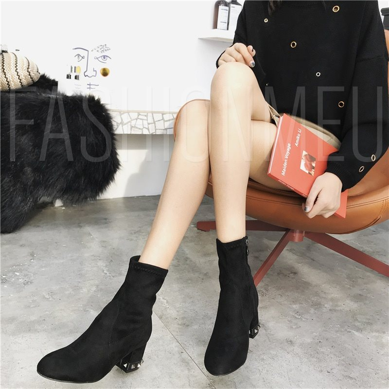 Round Toe Side Zipper Chunky Heel Plain Casual Chic Ankle Boots