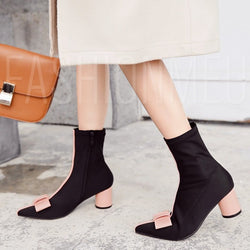Chunky Heel Pointed Toe Side Zipper Patchwork Bow Ladylike Ankle Boots