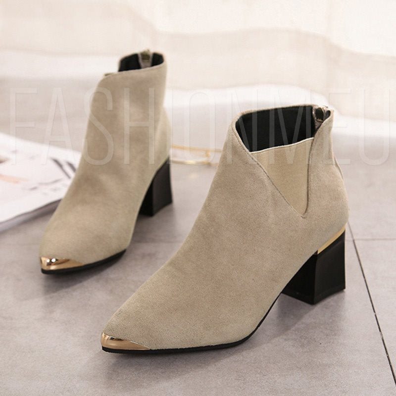 Patchwork Chunky Heel Back Zip Pointed Toe Women's Ankle Boots