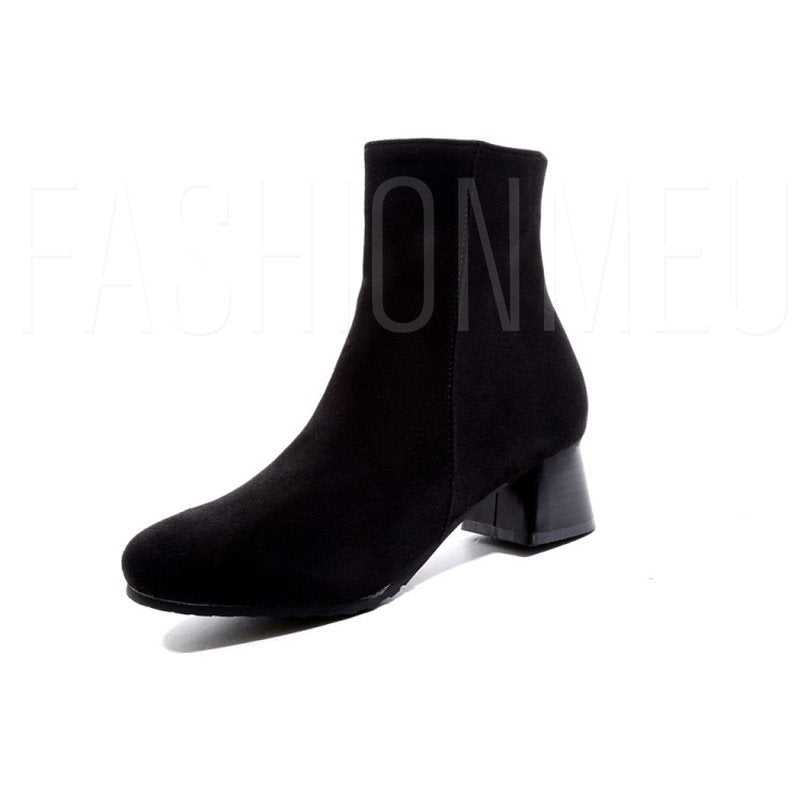 Plain Chunky Heel Side Zipper Round Toe Basic Ankle Boots