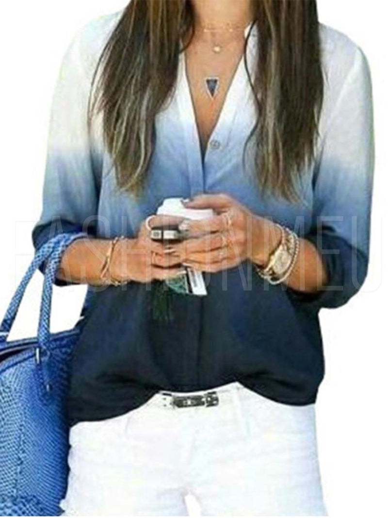 Women  Casual V Neck Loose Blouses