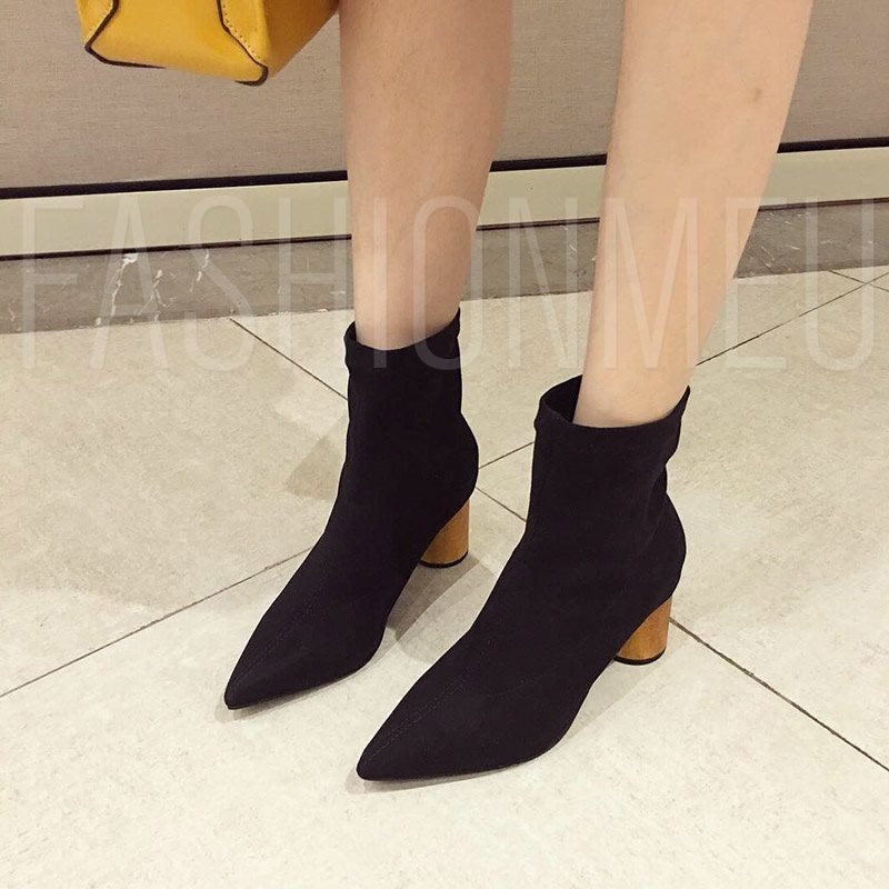 Chunky Heel Slip-On Pointed Toe Casual Purple Women's Ankle Boots
