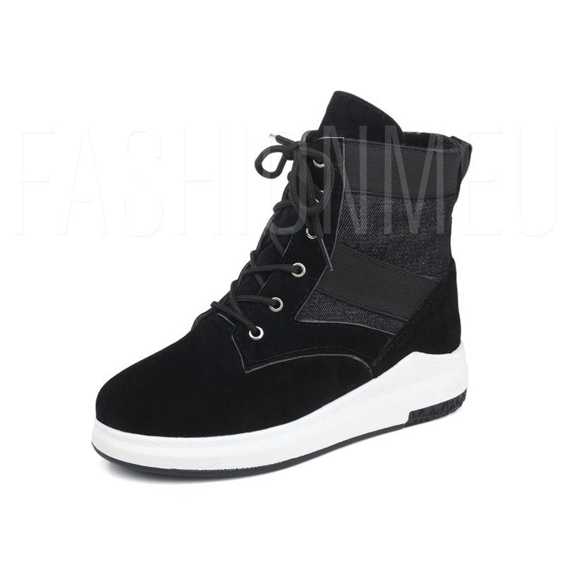 Suede Round Toe Lace-Up Front Platform Casual Ankle Boots