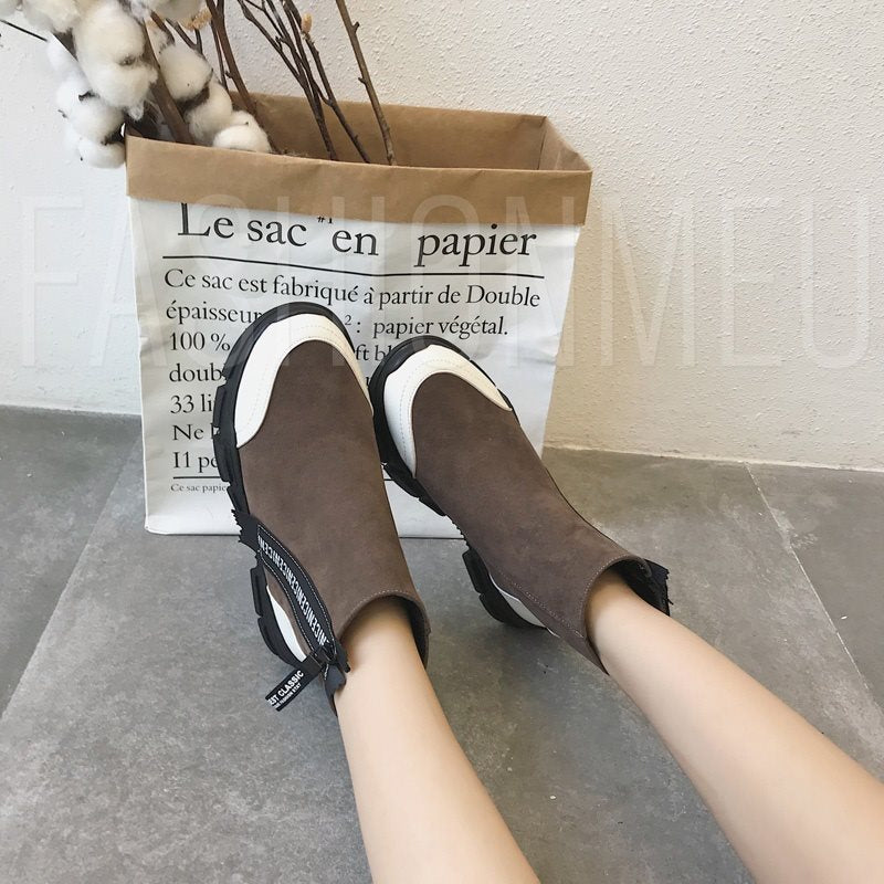 Suede Round Toe Slip-On Platform Casual Versatile Ankle Boots