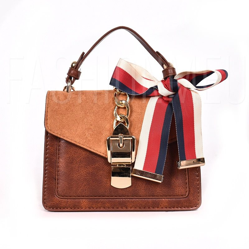 PU Synthetic Leather Bowtie Envelope Crossbody Bags Scarf