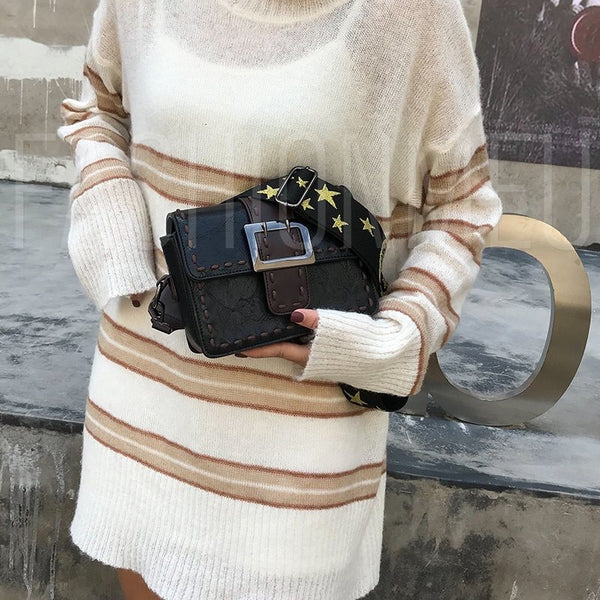 Color Block PU Rectangle Magnetic Snap Rectangle Crossbody Bags